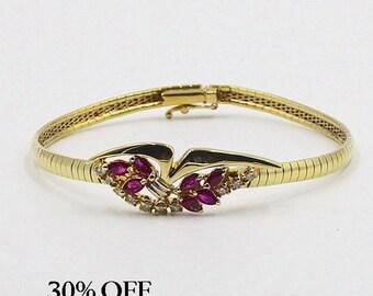Vintage Ruby Bracelet, Vintage Diamond Bracelet, Vintage Stone Bracelet, Ruby and Diamond Bracelet, 30% OFF