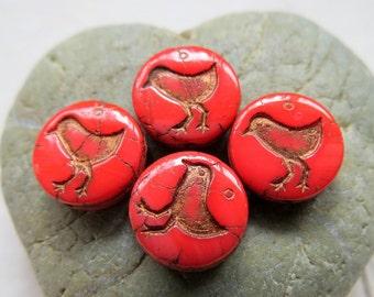 NEW BRONZED Coral BIRDIES . Czech Metallic Glass Beads . 12 mm (10 beads)