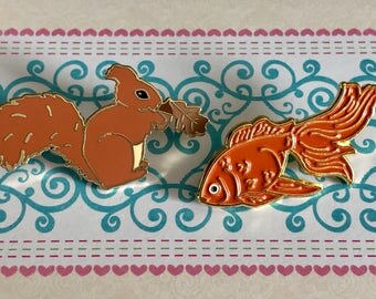2 Limited Edition Enamel Pins Gorgeous Squirrel and Goldfish