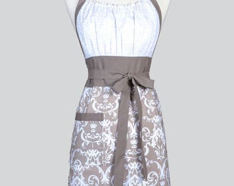 Cute Kitsch Womens Apron - Modern Taupe Gray and Ivory Damask Retro Vintage Style Kitchen Cooking Apron with Pockets