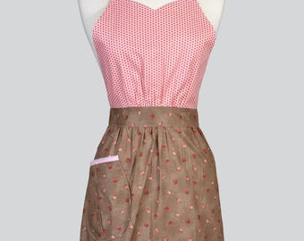 Blossom Womens Full Apron - Pink Polka Dots and Rose Bud Floral Mothers Day Cute Vintage Kitchen Apron with Pockets and Adjustable Neck