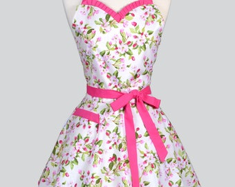 Sweetheart Womens Apron - 50s Style Pinup Spring Pink and Green Apple Blossom Retro Cute Flirty Vintage Style Kitchen Apron to Monogram