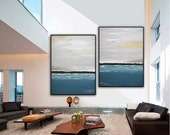Abstract Art Large Oil Painting Seascape Ocean Set Of Two Original Modern Contemporary Art Blue Gray Framed Landscape Diptych 2 Piece Water