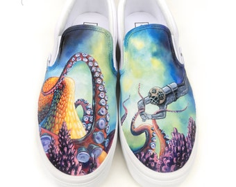 Custom Vans Shoes - Hand Painted Octopus & Scuba Diver