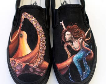 Custom Octopus and Mermaid Vans - Hand Painted Custom Vans