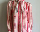 Vintage Women's 80's Bow Tie Blouse, White, Fuchsia, Polyester by Alfred Dunner (L)