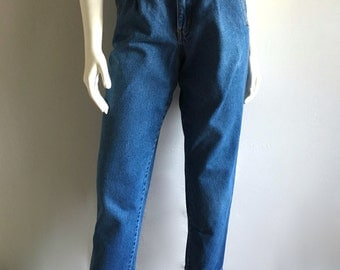 Vintage Women's 80's Jeans, High Waisted, Tapered Leg, Petite, Denim (M)