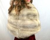 Vintage 1950s 50s Gray Fur Stole Pelt Wrap