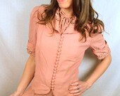 Vintage 1940s Pink 40s Rayon Dress with Matching Jacket