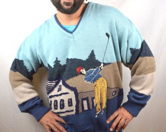Vintage 80s 90s Golf Knit Sweater - Made in England
