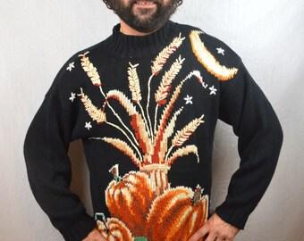 Vintage 1980s Autumn Fall Thanksgiving Turkey Pumpkin Halloween Sweater