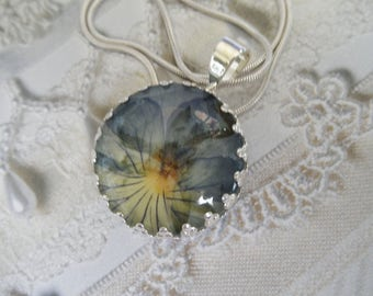 Ombre Purple & Yellow  Pansy Pressed Flower Crown Bezel Pendant Beneath Glass-Nature's Wearable Art-Gifts Under 25-Symbolizes Loyalty