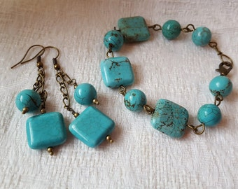 Turquoise Wirewrapped Earrings and Bracelet Set