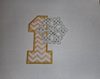 Free Shipping Ready to Ship Number 1 Snowflake Machine Embroidery iron on applique