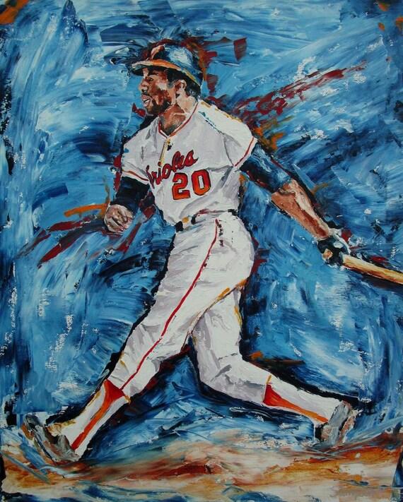 Frank Robinson NBL Orioles Baseball Sports Art Oil Original Painting Framed
