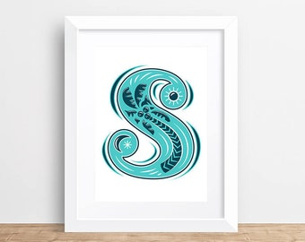 Letter S Print, Monogram Wall Art, Typography Print, Graphic Initial Poster, Wall Letter