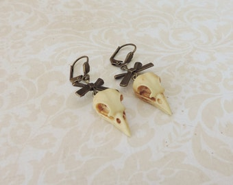 Bird skull earrings bronze -raven -Curiosity -Skull jewelry- gothic steampunk jewelry - animal skull - gothic victorian-Taxidermy