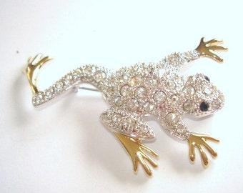 Frog Brooch Silver Gold Tone Rhinestones