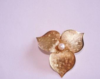 Pearl Flowers Gold Tone Signed GF  Brooch