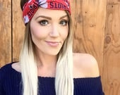 New England Patriots Vintage Style Turban Headband || Hair Band Accessory Cotton Workout Yoga Fashion Navy Blue White Texas Head Scarf Girl