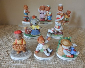 Set of Eight Nursery Rhyme Bears Porcelain Figurines. Bronson Collectibles Figurines. Porcelain Figures Child's Room Decor