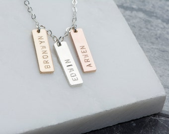Personalized Name Tag Necklace, Customized Mother's Necklace with Kid's Names, Gold Mom's Necklace, Sterling Small Bars Name Tag Necklace