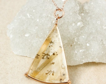 Triangular Dendritic Quartz Necklace, Natural Dendritic Quartz Pendant, One of a Kind