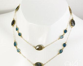 Gold London Blue Topaz & Blue Labradorite Layering Necklace - 14Kt Gold Filled - Long Necklace