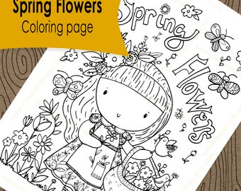 1 Cute kids Coloring page, Spring flowers, Fun kids activities