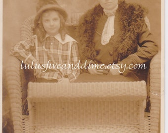 Vintage RPPC - Atlantic City Boardwalk Tourist Photo - Woman and Young Girl