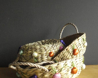 Vintage Fruit Baskets or Casserole Baskets - Flat Woven Baskets with Brightly Colored Flower Detailing