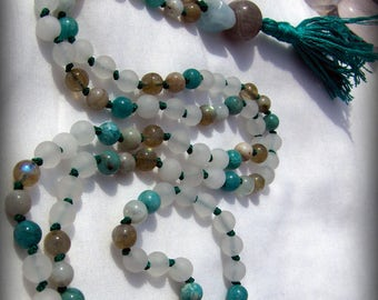 Quartz  Mala, Amazonite Mala, Aquamarine Mala, Labradorite Mala, Green Mala, White Mala, Prayer Beads, Japa Mala, Teal Mala, Yoga Necklace
