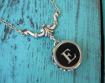 Typewriter Key Necklace - Simple Elegance - Letter E