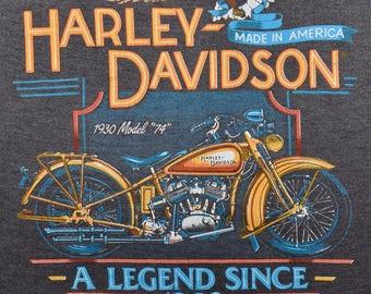 Vintage 80s 1988 HARLEY DAVIDSON Motorcycles 1930 Model 74 Paper Thin Sleeveless T SHIRT M L