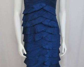 An outstanding Victor Costa tiered Dark Aegean Blue Designer dress size Small