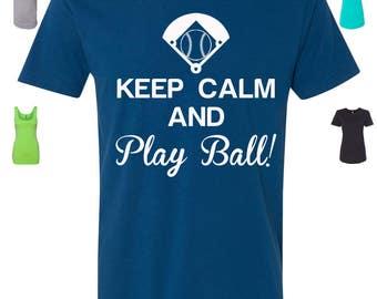 Custom Made Keep Calm and Play Ball Baseball Shirt, Baseball Tank Top or Baseball Raglan Vinyl or Glitter Print All Colors