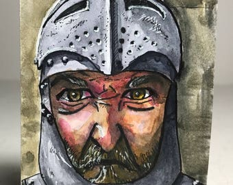 Medieval Knight, original pen and watercolour painting on Artist Trading Card (ATC)