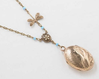Antique Victorian Locket, Locket Necklace in Gold Filled with Blue Opal and Dragonfly Charm, Hand Engraved Bird, Photo Locket, Jewelry Gift