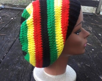 Red yellow green black rasta reggae hippie slouch beanie hat