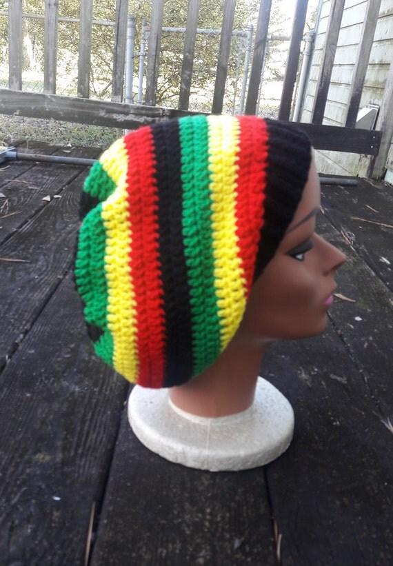 Red yellow green black rasta reggae hippie slouch beanie hat