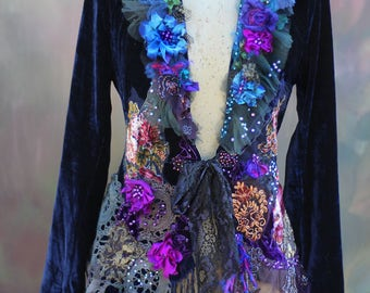 Midnight muse jacket,  bohemian romantic, altered couture, vintage textiles