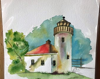 Original Lighthouse Watercolor Painting