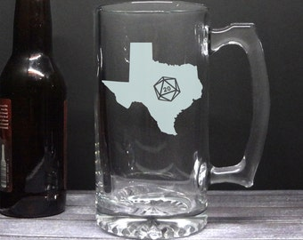 State Silhouette d20 Beer Mug - Choose Your State - Roll 20 - Etched Beer Mug - Gamer Gift - DnD Gift - Etched Mug - State Love - Hometown