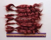 Mohair Doll Hair Combed locks burgundy long 11 in angora goat/ reroot/ Reborn/ blythe/ bjd, abjd/ weft making/ la fiaba russa