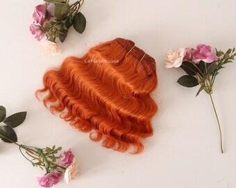 bright orange Wefted mohair wavy hair waldorf, Blythe Doll wig, tress, fabric dolls, curly mohair goat fiber