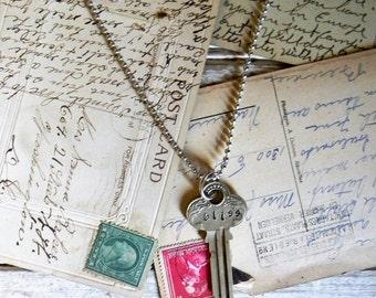 Key Necklace, Key Pendant Necklace, Stamped Key, Antique Brass Key, Stamped Key, Boho Chic Necklace, Long Layering Necklace, Antique Patina