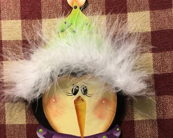 Fuzzy Hat Penguin Hand  Painted Wood Christmas Ornament