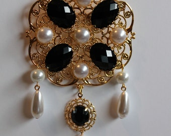 Black Onyx and Pearl Tudor Brooch Renaissance Medieval Jewelry Pin Borgias Jane Seymour Anne Boleyn
