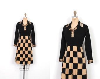 Vintage 1960s Dress / 60s Checkered Knit Shirtdress / Black and Tan (S M)