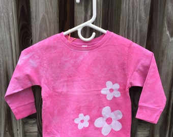 Flower Girls Shirt, Pink Girls Shirt, Long Sleeve Girls Shirt, Batik Girls Shirt, Girls Flower Shirt, Pink Flower Shirt, Girls Shirt (3T)